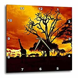 3dRose DPP_173293_3 African Giraffe on African Plains at Sunset, Animal Safari Africa Wall Clock, 15 by 15