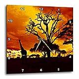 3dRose dpp_173293_3 African Giraffe on African Plains at Sunset, Animal Safari Africa Wall Clock, 15 by 15''