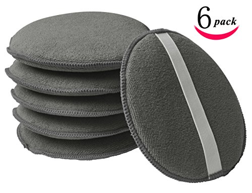 KinHwa Microfiber Wax Applicator Pads for Cars with Rubber Band Round Sponge Wax Polishing for Auto Diameter 5 Inch 6 Pack Gray