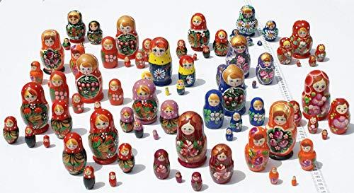 - Lot 3 Sets of 5 Cute Nesting Stacking Wooden Dolls Matryoshka Babushka Russian Ethnic Art by C2A Enterprise