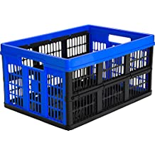 CleverMade CleverCrates Collapsible Storage Bin/Container: 45 Liter Utility Basket/Tote, Royal Blue