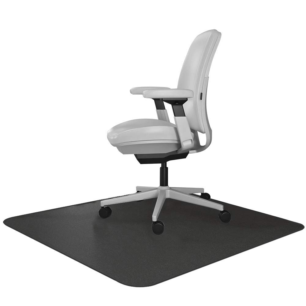 Resilia Office Desk Chair Mat for Carpet with Grippers Black, 47 Inches x 57 Inches, Made in The USA