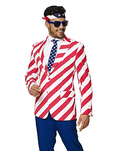 OppoSuits USA Flag Suits  Pants, Jacket, Tie Free Sunglasses & Bandana - 4th July Outfit
