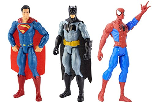 Female Action Hero Halloween Costumes (3 LOT Marvel Batman v Superman and Marvel Spider-Man Titan Hero Series Spider-Man Figure)