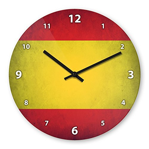 hiusan Spain Flag Wooden Wall Clock Silent Non-ticking Wall Clocks Decorative for Kids Living Room Bedrooms Home Decor Wall Art 12in by hiusan