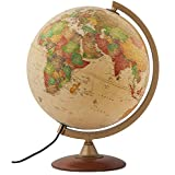 """Journey 12"""" Diameter Antique Style Globe & Wood Stand - 1,000's of UP-to-Date Named Places & Points of Interest - Numbered Meridian - Illumination for Enhanced Viewing - Perfect for Desk or Tabletop"""