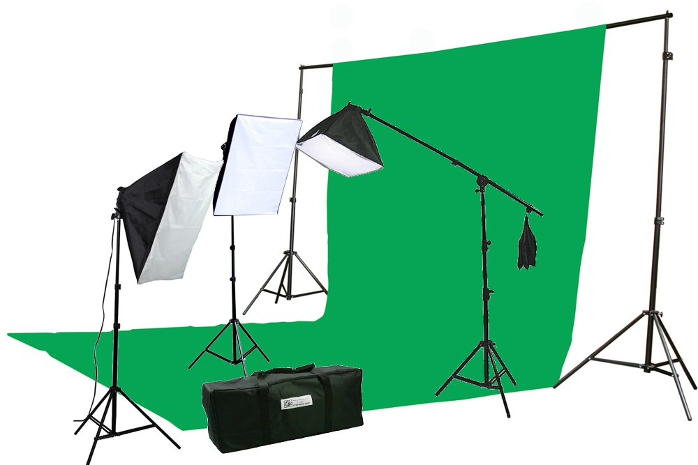 ePhoto 10 X 20 Large Chromakey Chroma KEY Green Screen Support Stands 3 Point Continuous Video Photography Lighting Kit H9004SB-1020G by ePhoto