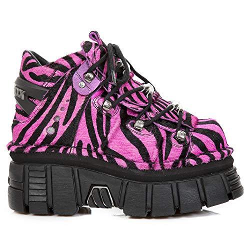 Boots Gothic Fucsia Men's Ankle Heel Ladies 106 S32 Unisex New Leather Black M Women's Punk Rock Heavy waqWPXHAS