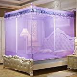 DE&QW Four corner hook up mosquito nets, Three-piece zipper and drop-proof bed canopy-D King