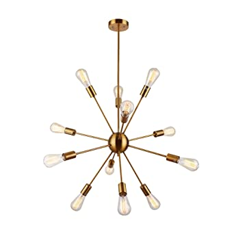 modern pendant chandelier lighting. Sputnik Chandelier Housen Solutions 12 Lights Pendant Lighting Brushed Brass Modern E