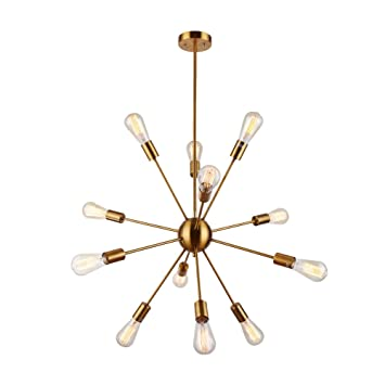 Amazon sputnik chandelier 12 lights brushed brass pendant sputnik chandelier 12 lights brushed brass pendant lighting retro ceiling light fixture ul mozeypictures Gallery