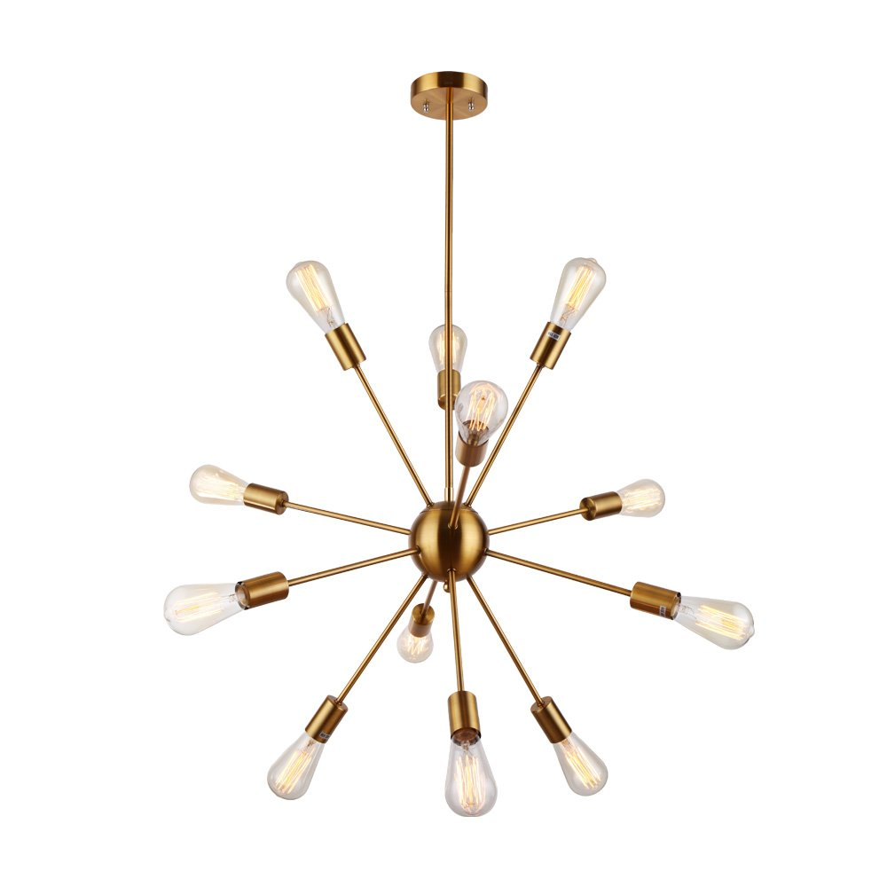Sputnik Chandelier - Housen Solutions 12 Lights Pendant Lighting, Brushed Brass Pendant Chandelier, Retro Ceiling Light Fixture, UL LISTED by Housen Solutions