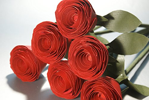 6 Red wooden Roses handmade for Five Year wedding anniversary. Romantic gift for her, Birthday Flowers by Adamz Originals