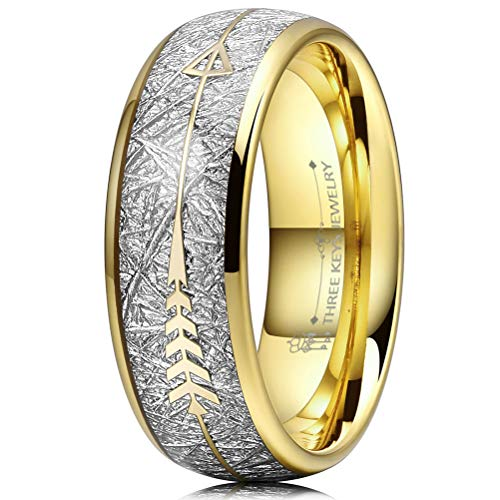 Three Keys 8mm Tungsten Wedding Ring for Men Domed Imitated Meteorite Arrows Inlay Gold Mens Meteorite Wedding Band Engagement Ring Promise Ring Size 9