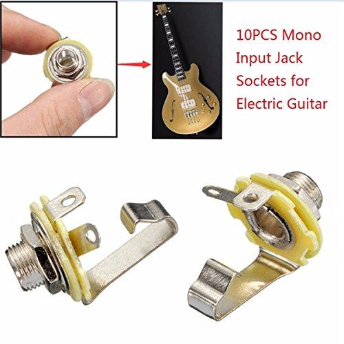 - Gods Kingdom 10Pcs 1/4'' 6.35mm Mono Input Jack Socket Electric Guitar Bass Audio Panel Mount
