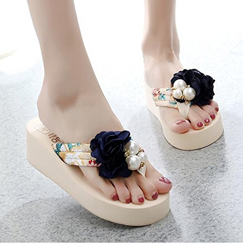 LL Shoes Bags Shoes Women's Shoes Sandals The New Sandals Female Summer Fashion Outer Wear Thick Bottom High Heel Beach Slippers Seaside Non-slip Flowers Sweet Sandals (Size : EU36/UK3.5/CN35) p9IBk6JP