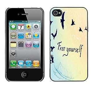 FECELL CITY // Duro Aluminio Pegatina PC Caso decorativo Funda Carcasa de Protección para Apple Iphone 4 / 4S // Quote Birds Blue Light Colors