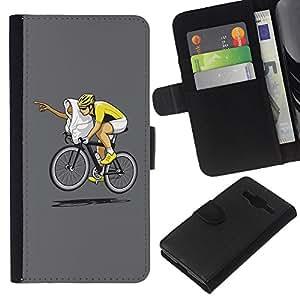 EJOY---La carpeta del tirón la caja de cuero de alta calidad de la PU Caso protector / Samsung Galaxy Core Prime / --Carrera divertido E.T bicicletas