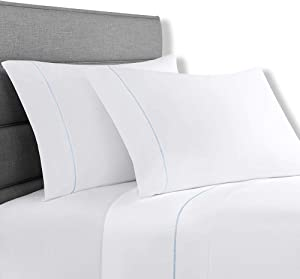 Lionel Richie Home Lifestyle Collection - 4 Piece 100% Cotton White Sheet with Light Blue Trim - California King Size - Includes 1 Fitted & 1 Flat California King Size Sheet with 2 Pillow Cases