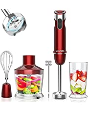 VAVSEA 1000W 5-in-1 Immersion hand Blender, 12 Speed Handheld Stick Blender with 304 Stainless Steel, with Chopper, Beaker, Egg Whisk, Milk Frother for Baby Food/Smoothies/Puree, BPA Free, Red