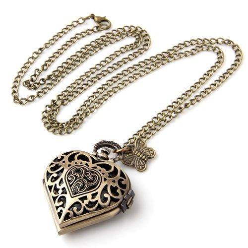 SODIAL(R) Antique Brass Necklace Pendant Heart Clock Watch 1.57