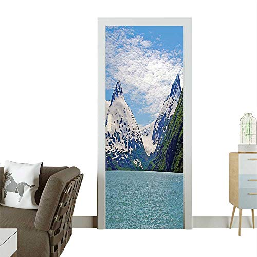 Door Sticker Wallpaper Mounta Lake Anchorage SPR gtime Sunny Day Scenic View Picture White Fashion and Various patternW35.4 x H78.7 INCH ()