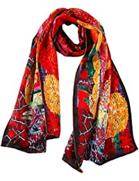 YangtzeStore Women's 100% Luxurious Long Silk Scarf Classic Art Collection