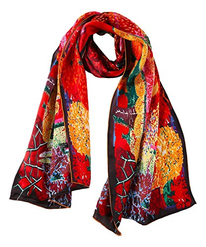 (YangtzeStore Women's 100% Luxurious Long Silk Scarf Classic Art Collection (Red))