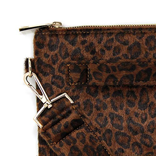 Leather Side Plus Styles Strap Fashion 3 Bag Leopard Fur Clutch Faux brown Handle Detachable Hand Pouch Women Me dtAqZwvv