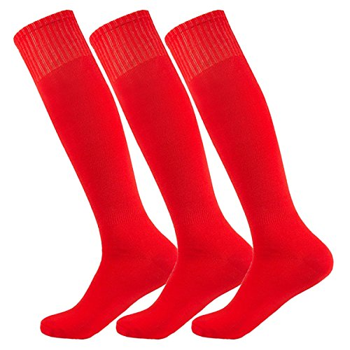 (El lunes en la red Men's Fashion Long Tube Baseball Softball Socks Red with Skull Good Quality Soccer (3Pairs-Red))