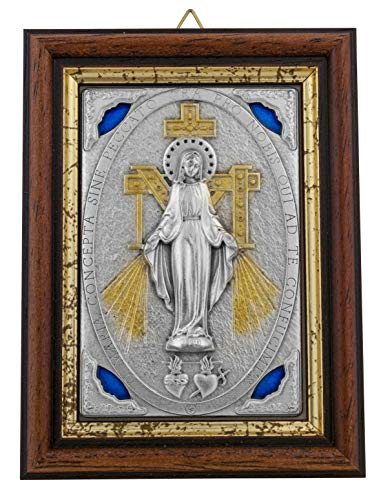 Plaque Divine Wall - Venerare Devotional Wall Plaque with Wood Frame and Gold Highlights (Miraculous Medal)