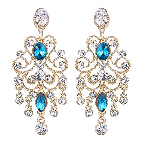BriLove Wedding Bridal Dangle Earrings for Women Vintage Style Crystal Drop Hollow Filigree Chandelier Dangle Earrings Blue Topaz Color Gold-Toned