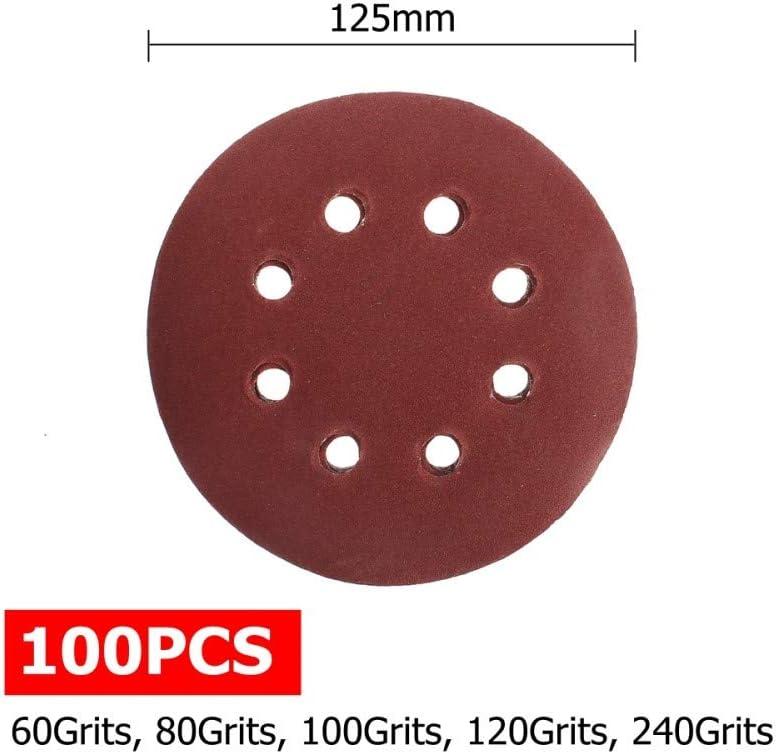 FYMIJJ Sandpaper,100pcs 125mm 60 80 100 120 240 Grit Round Shape Sanding Discs Buffing Sheet Sandpaper 8 Hole Sander Polishing Pad Each of 20,China China
