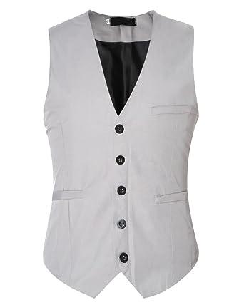M Homme Veste Gilet Manches Slim Mariage Business Costume Sans Gris Fit rrFqvxp