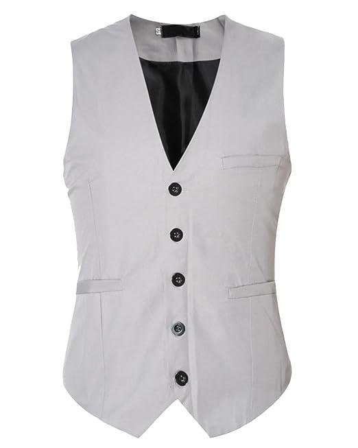 Hombre Plain Waistcoat Chaleco Traje Blazers Sin Mangas De Boda Casual Slim Fit