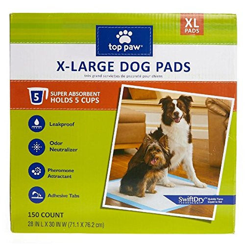 Top Paw Dog Extra Large Pads for Puppy Training, Indoor Dogs or Apartment Living, or Dogs with Incontinence, 150 Count by TOP PAW
