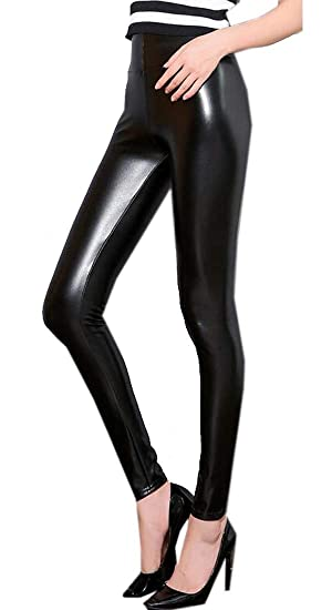 bee93ab41960a MK988 Womens Fleece Lined Plus Size Bodycon Stretchy High Rise PU Leather Leggings  Pants Trousers 1