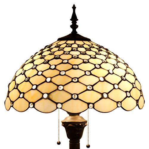 WERFACTORY Tiffany Floor Lamp Crystal Pear Bead Stained Glass Lampshade Coffee Table Reading Lamps Antique Style Base Lighting W16 H64 Inch Living Room Bedroom Bookcase Dresser Bedside Desk S005
