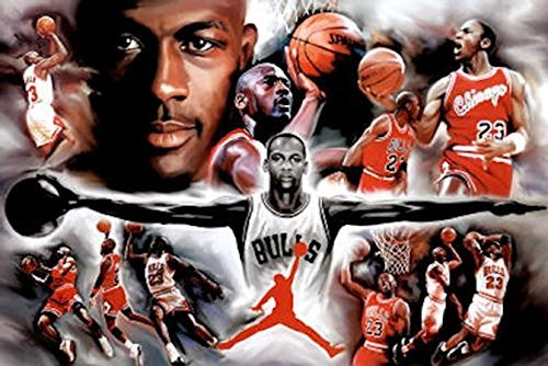 - Buyartforless Michael Jordan - Collage Open Arms 36x24 Sports Art Print Poster Superstar Legend