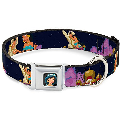 Buckle-Down Aladdin/Jasmine Magic Carpet Ride Scene Seatbelt Clip Dog Collar, 1.5
