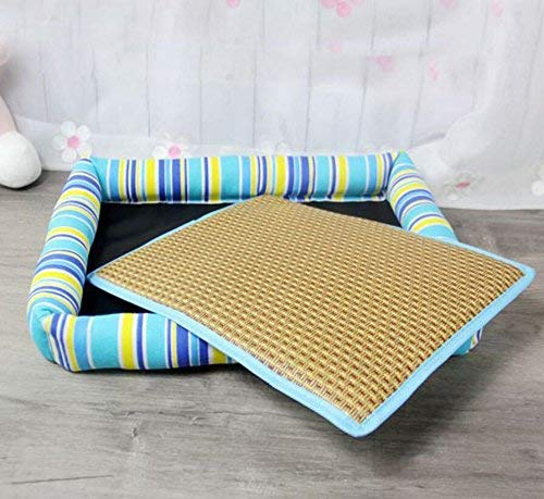 IANXI Home Summer Cool Mat Dog Kennel Pet Bed Cat Litter Dog Supplies (color   bluee, Size   S) for Cat Dog
