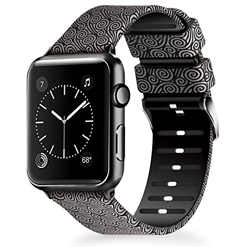 Band Swirl Design - Lwsengme Compatible for Apple Watch Band 38mm 40mm, Soft Silicone Replacment Sport Bands iWatch Series 4 Series 3 Series 2 Series 1 - Pattern Printed (Flower-2, 38MM/40MM)