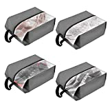 MORJEAS Portable Travel Shoe Bags Dustproof Waterproof Nylon Zipper Storage Organizer for Men and Women- 4 Pack (Grey)