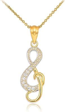 14k Yellow Gold Treble Clef Pendant