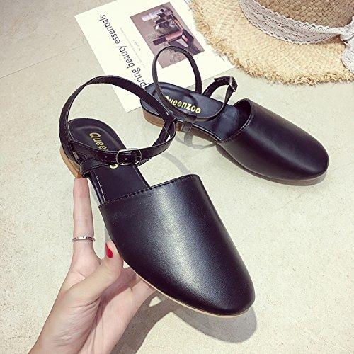 Rome Student Sandalias Thick Summer con Retro brown Wild Shoes Simple Low ITTXTTI Baotou Sra qw1SwFz