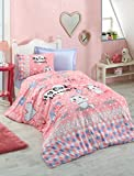 DecoMood 100% Cotton Animals Bedding, Heart Cats Kitty Kitten Themed Single/Twin Size Duvet Cover Set, Pink (3 Pcs)