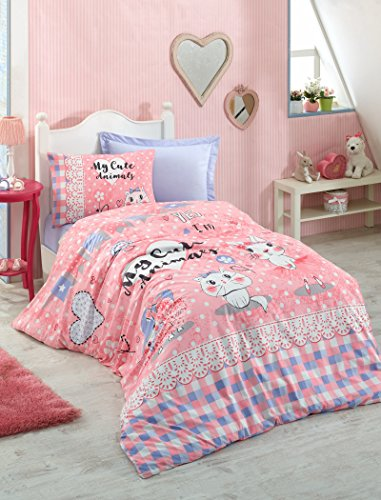 DecoMood 100% Cotton Animals Bedding, Heart Cats Kitty Kitten Themed Single/Twin Size Duvet Cover Set, Pink (3 Pcs) by DecoMood