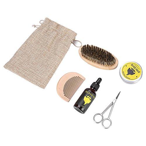 Kit de limpieza y recorte para barba para hombres con bálsamo de barba, cera de manteca, acondicionador sin enjuague con...
