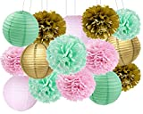 Baby Shower Decorations Furuix 15pcs Mint Pink Gold Party Decoration Tissue Paper Pom Poms for Birthday Party Decoratios Bridal Shower Decorations