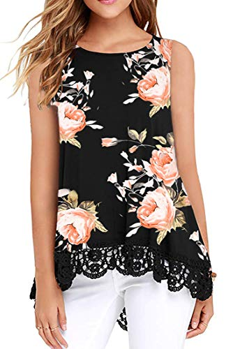 Women's Floral Print Loose Casual Flowy Tunic Tops High Low Peplum Blouse Top Pink Rose L